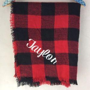 Taylor Red Black Buffalo Plaid Blanket Scarf OS